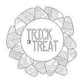 Candy corn vector coloring page. Trick or treat greeting card. Candy corn frame.