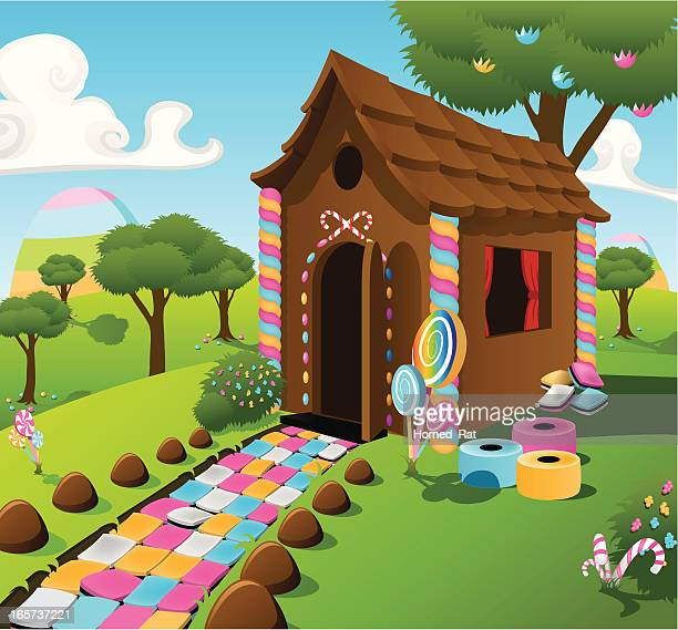 candy cottage - gingerbread house stock illustrations, clip art, cartoons, & icons