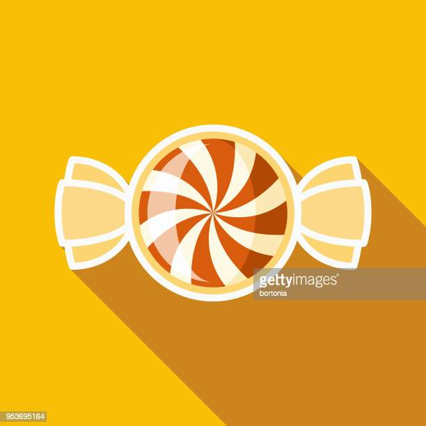 ilustraciones, imágenes clip art, dibujos animados e iconos de stock de caramelo plano diseño halloween icon con sombra lateral - golosina