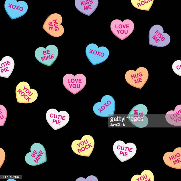 candy hearts pattern - unhealthy eating stock illustrations
