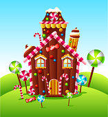 Candy house on green hill