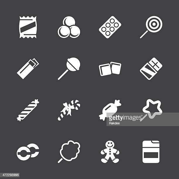 candy icons - white series | eps10 - sugar food stock illustrations, clip art, cartoons, & icons