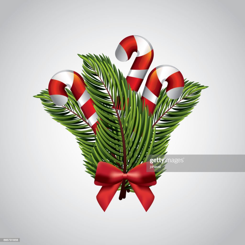Candy leaves and bowtie icon. Merry Christmas design. Vector gra