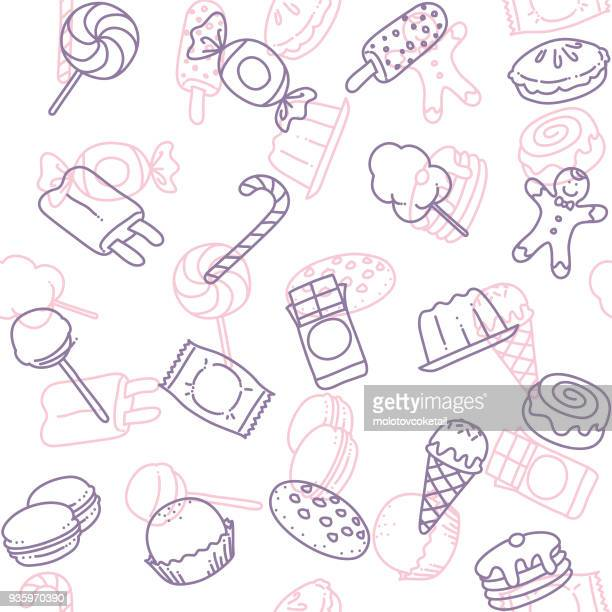 candy line art icon seamless wallpaper pattern - gelatin dessert stock illustrations, clip art, cartoons, & icons