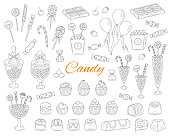 Candy set vector hand drawn doodle illustration