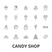 Candy shop, candy store, sweet shop, candy bar, lollipop, shopping, ice cream line icons. Editable strokes. Flat design vector illustration symbol concept. Linear signs isolated