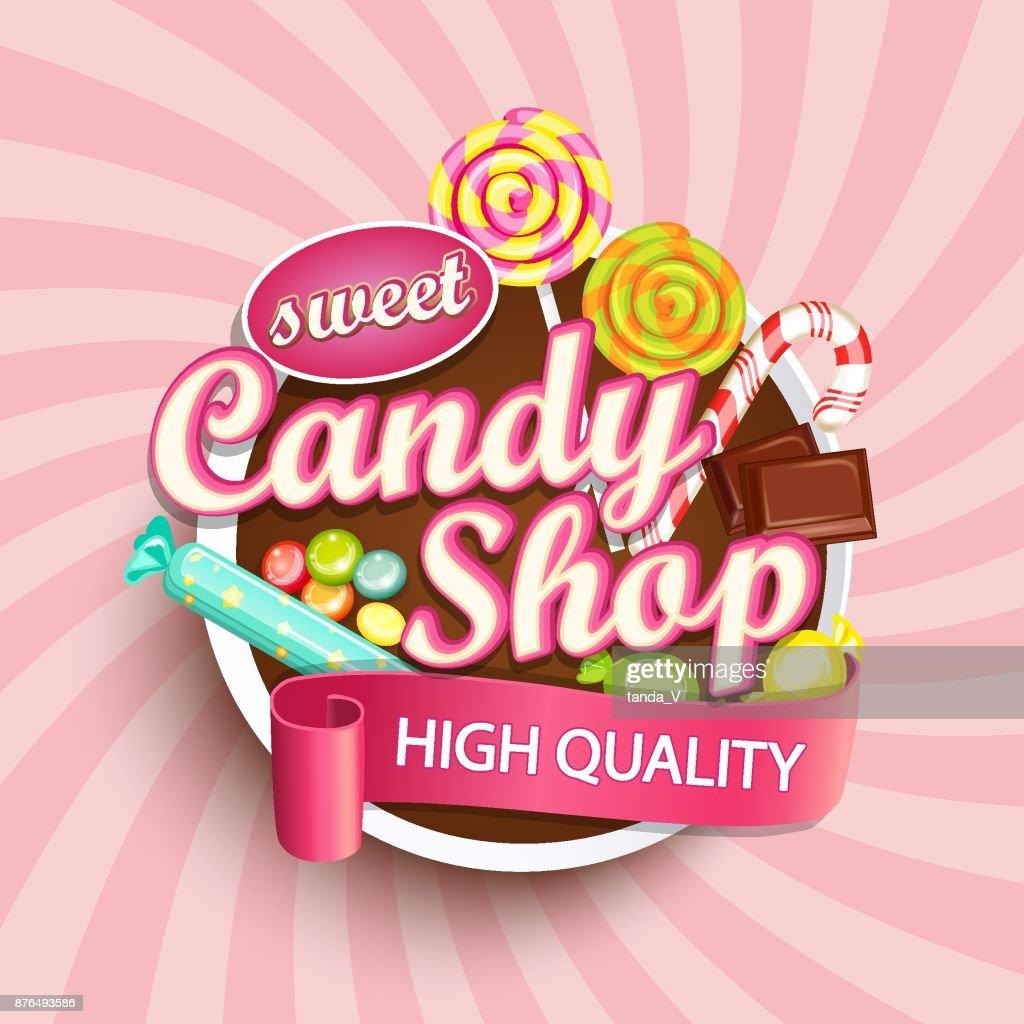 Candy shop label or emblem.