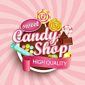 Candy shop label or emblem.