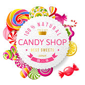 Candy shop label with type design