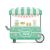 Candy shop street food cart. Colorful vector image