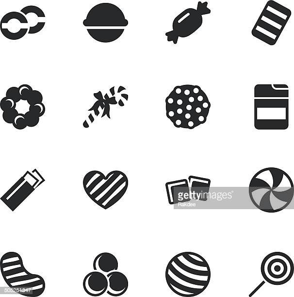 candy silhouette icons | set 4 - sweet food stock illustrations
