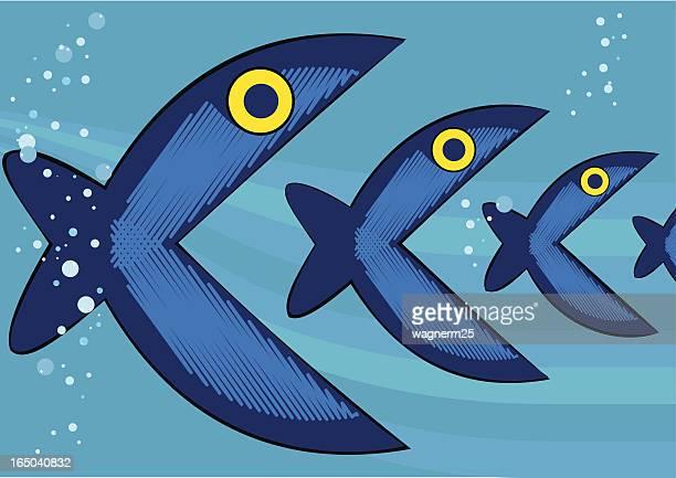 ilustrações de stock, clip art, desenhos animados e ícones de canibal peixes - canibalismo