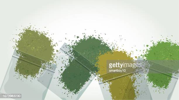 cannabis bags - synthetic marijuana stock illustrations