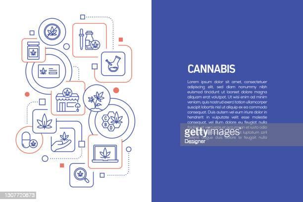 大麻コンセプト、アイコン付き大麻のベクターイラスト - 合法化点のイラスト素材/クリップアート素材/マンガ素材/アイコン素材