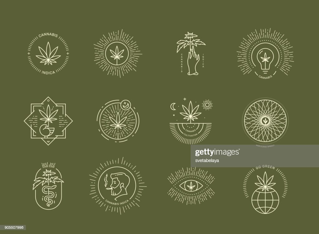 Cannabis emblem set on green background