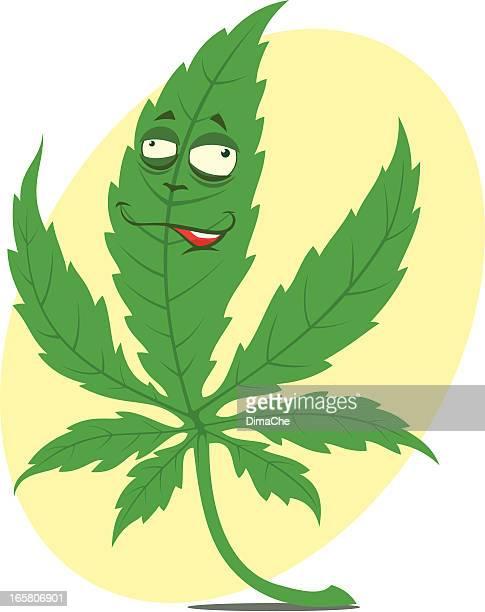 ilustrações, clipart, desenhos animados e ícones de engraçado folha de cannabis - intoxicação por cannabis