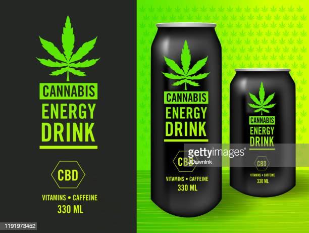 cannabis infused energy drink label design set with packaging mock-up sample template - marijuana leaf stock illustrations