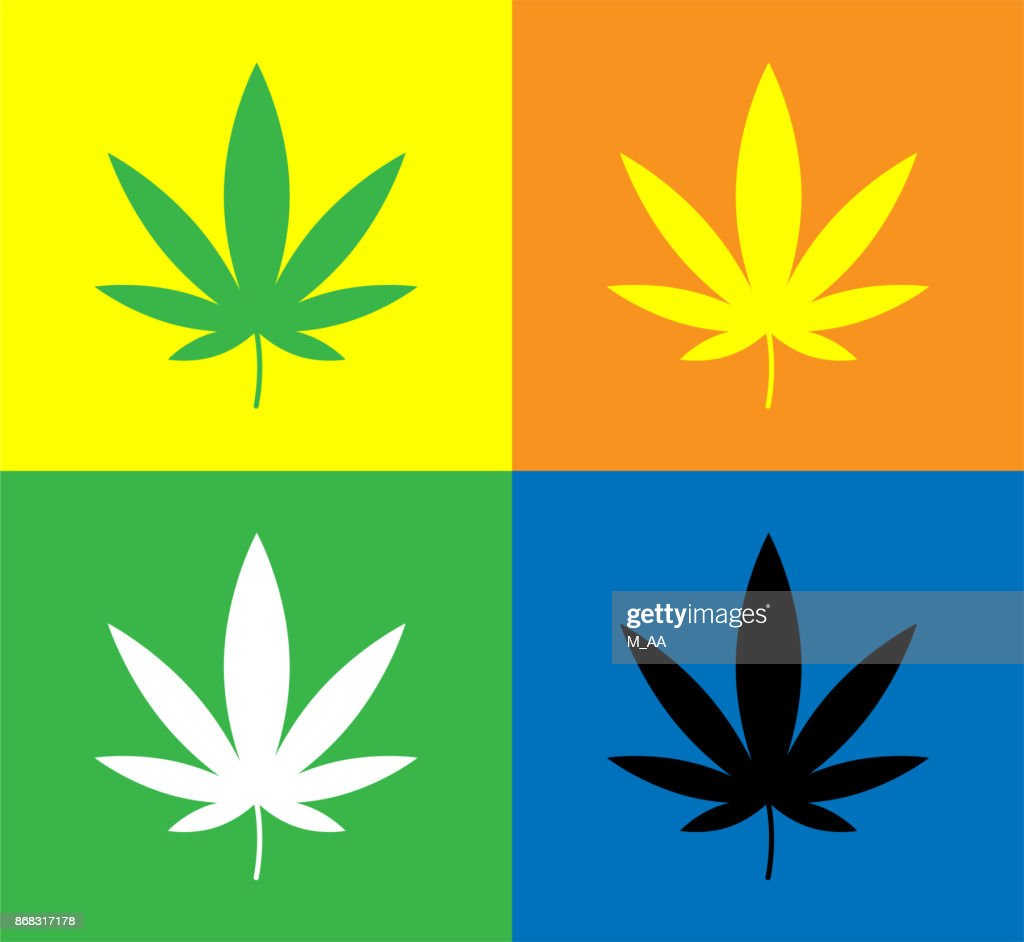 Cannabis (Marijuana) leaf set icons in different colors on colored backgrounds