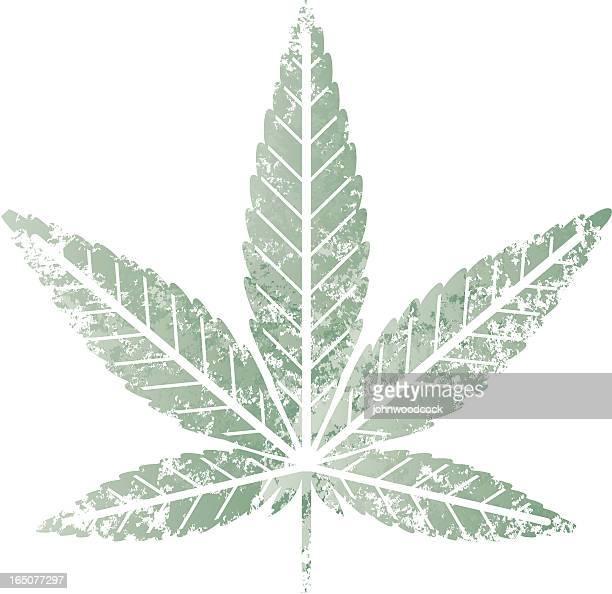 cannabis leaf stencil - hemp stock illustrations, clip art, cartoons, & icons