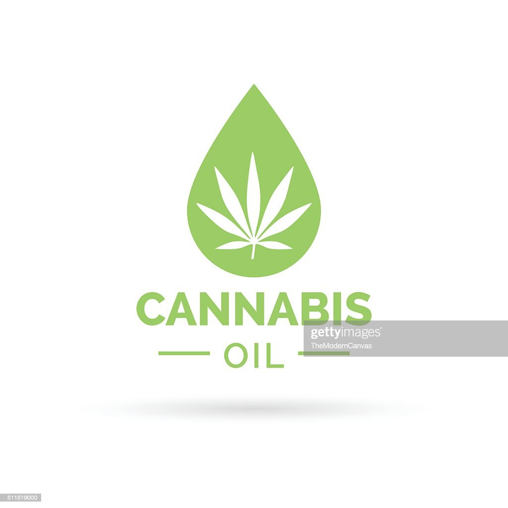 Cannabis oil icon with Marijuana leaf and oil drop symbol