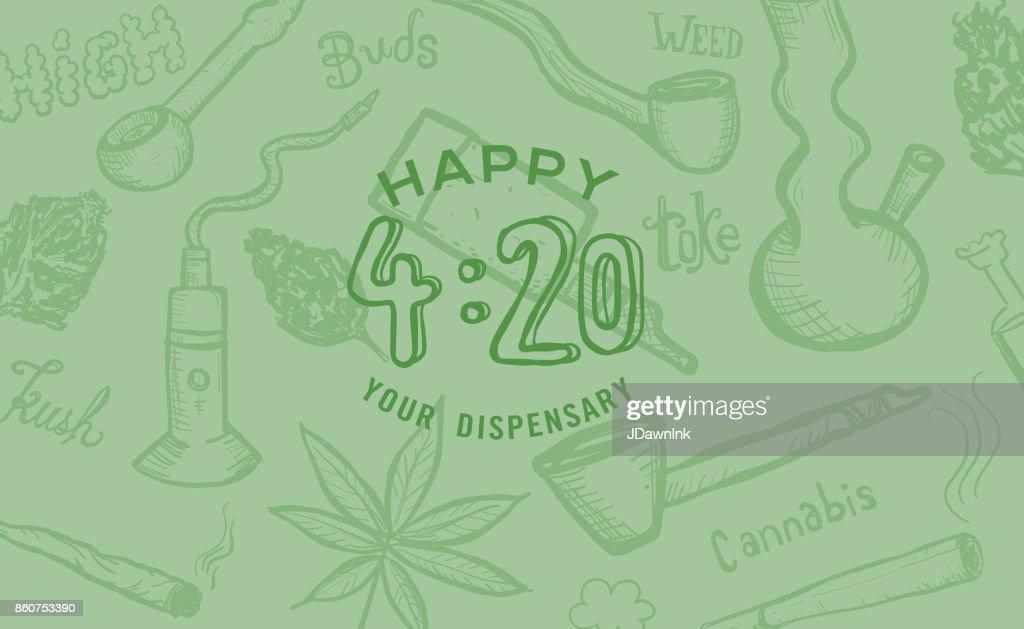 Cannabis ogräs kultur glad 420 hand dras banner design : Illustrationer