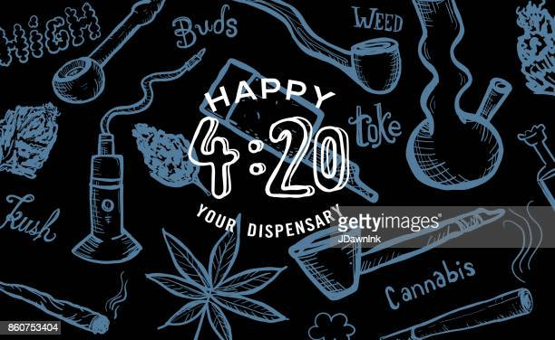 cannabis weed culture happy 420 hand drawn banner designs - marijuana leaf text symbol stock illustrations, clip art, cartoons, & icons