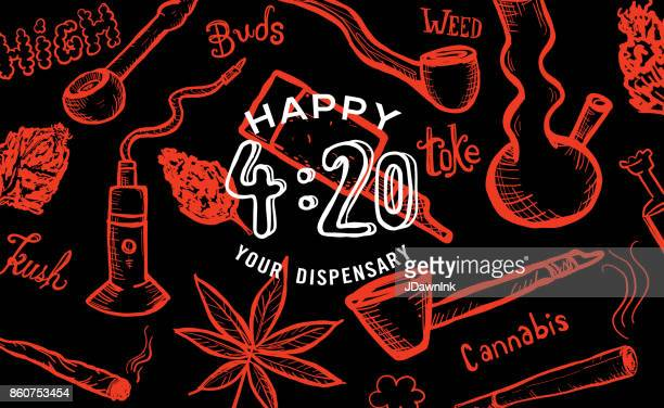 cannabis weed culture happy 420 hand drawn banner designs - bong stock illustrations, clip art, cartoons, & icons