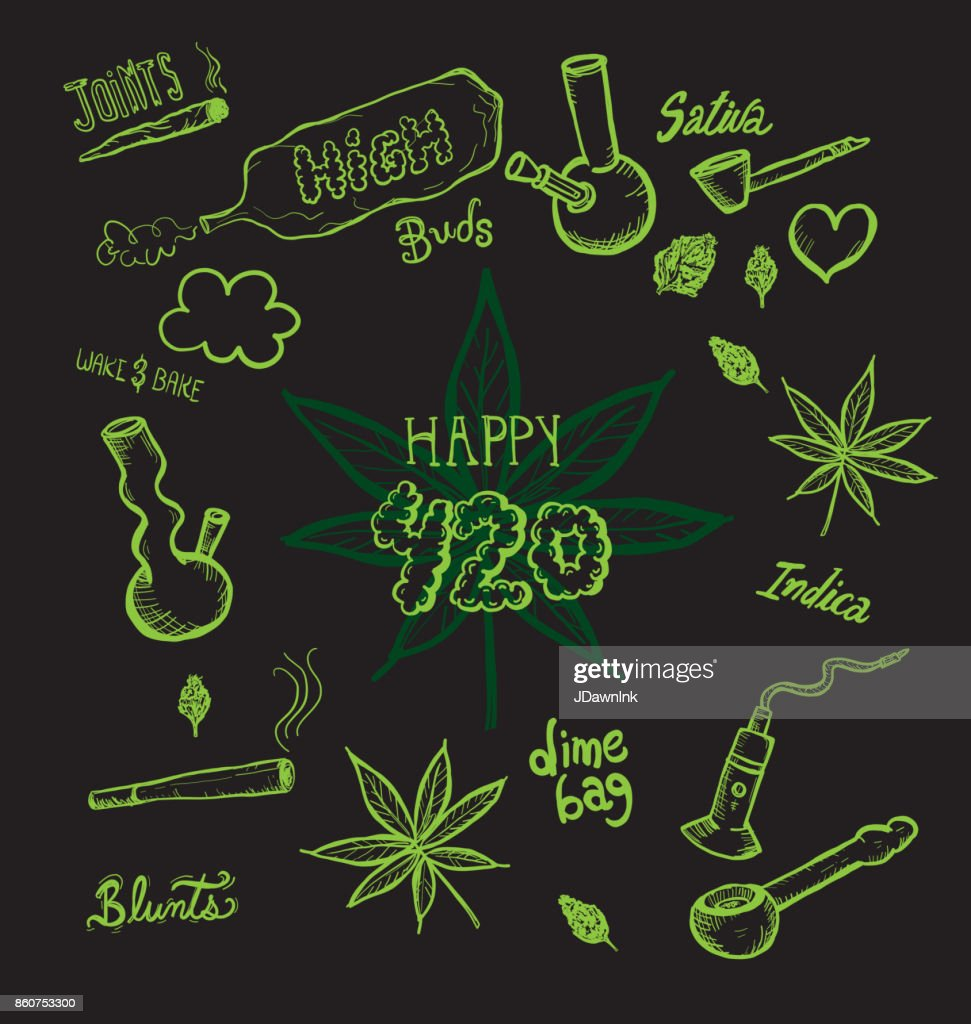Cannabis weed culture Happy 420 hand drawn designs : Stock Illustration