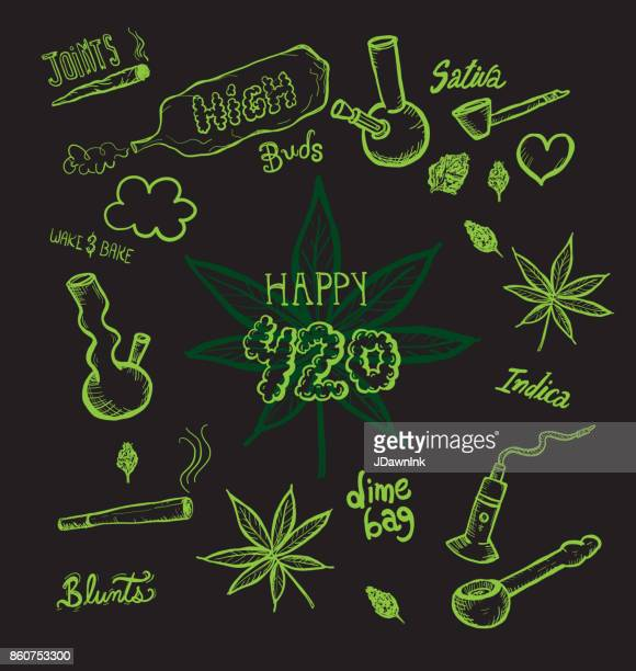 cannabis weed culture happy 420 hand drawn designs - marijuana leaf text symbol stock illustrations, clip art, cartoons, & icons