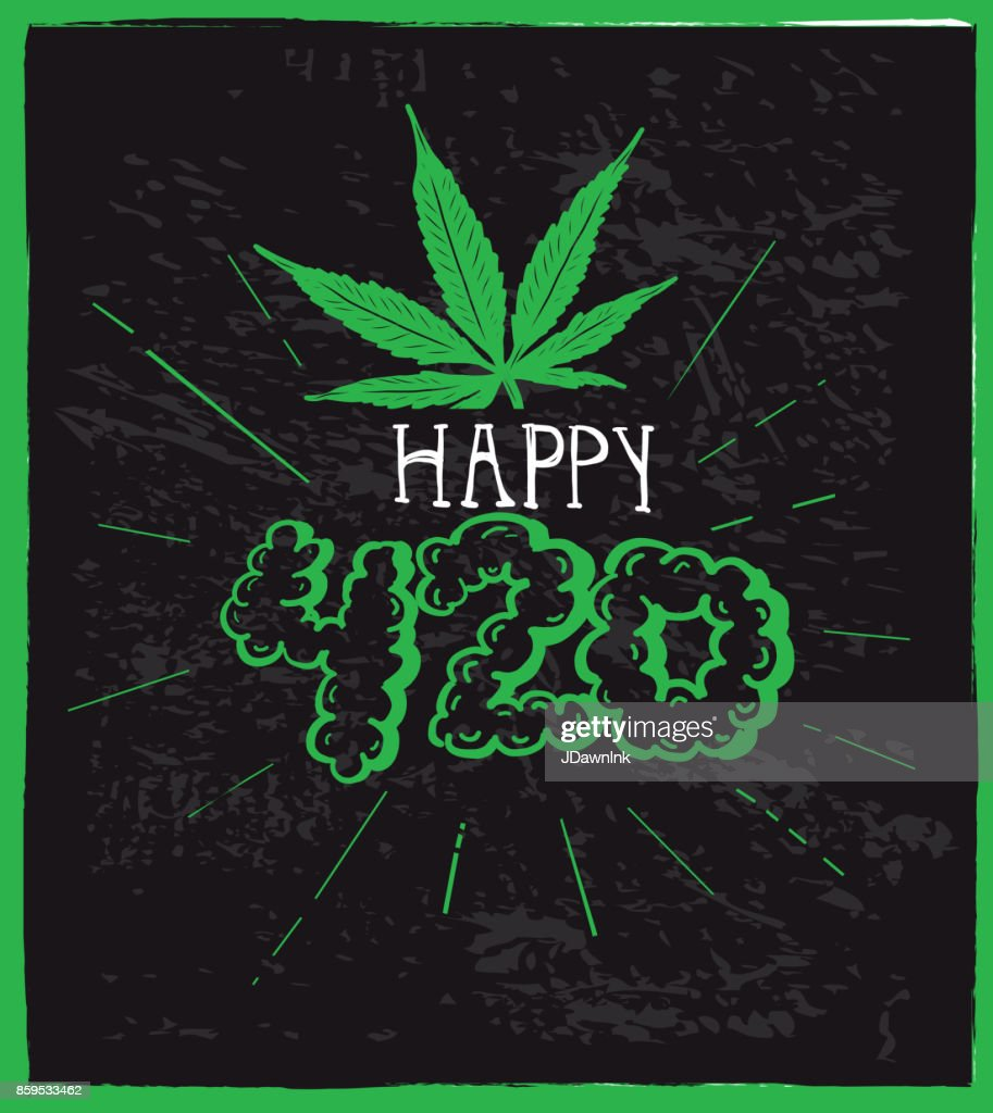 Cannabis weed culture Happy 4:20 hand drawn greeting  designs : Stock Illustration