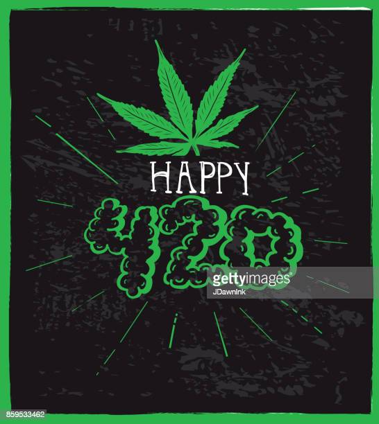 cannabis weed culture happy 4:20 hand drawn greeting  designs - marijuana leaf text symbol stock illustrations, clip art, cartoons, & icons