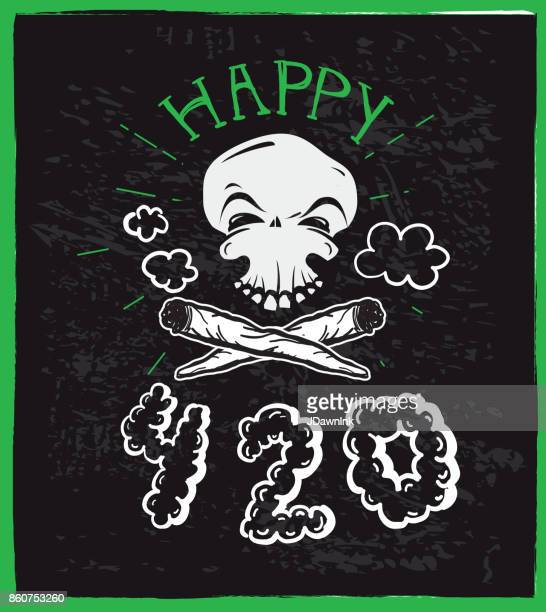 cannabis weed culture happy 420 hand drawn greeting designs - recreational drug stock illustrations, clip art, cartoons, & icons