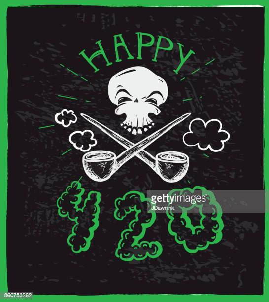 Cannabis weed culture Happy 420 hand drawn greeting designs