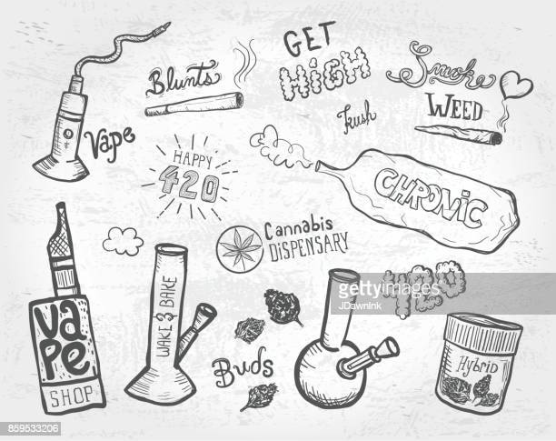 cannabis weed culture marijuana dispensary hand drawn labels designs sets - bong stock illustrations