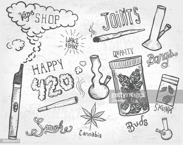 cannabis weed culture marijuana dispensary hand drawn labels designs sets - marijuana leaf text symbol stock illustrations, clip art, cartoons, & icons