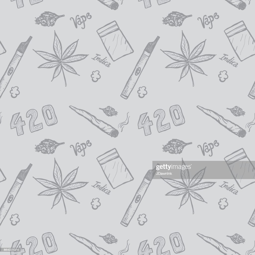 Cannabis weed culture marijuana dispensary hand drawn patterns : Stock Illustration