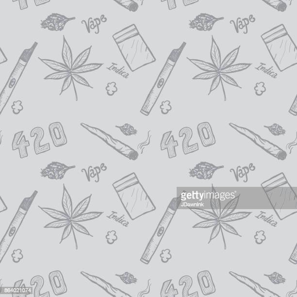 cannabis weed culture marijuana dispensary hand drawn patterns - marijuana leaf text symbol stock illustrations, clip art, cartoons, & icons