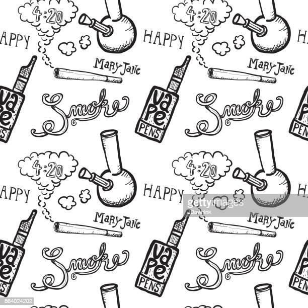 cannabis weed culture marijuana dispensary hand drawn patterns - bong stock illustrations, clip art, cartoons, & icons