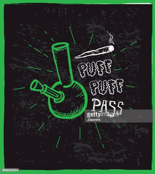 cannabis weed culture puff puff pass hand drawn labels designs - bong stock illustrations