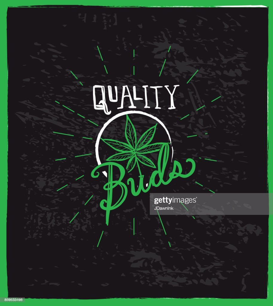 Cannabis weed culture quality buds with pot leaf hand drawn labels designs : Stock Illustration