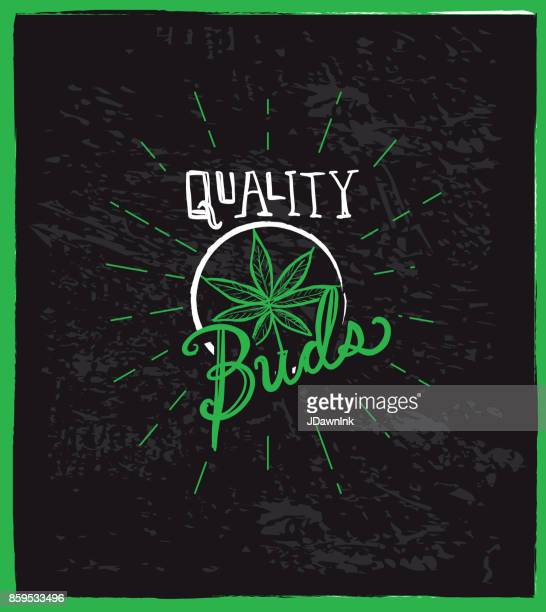 cannabis weed culture quality buds with pot leaf hand drawn labels designs - marijuana leaf text symbol stock illustrations, clip art, cartoons, & icons