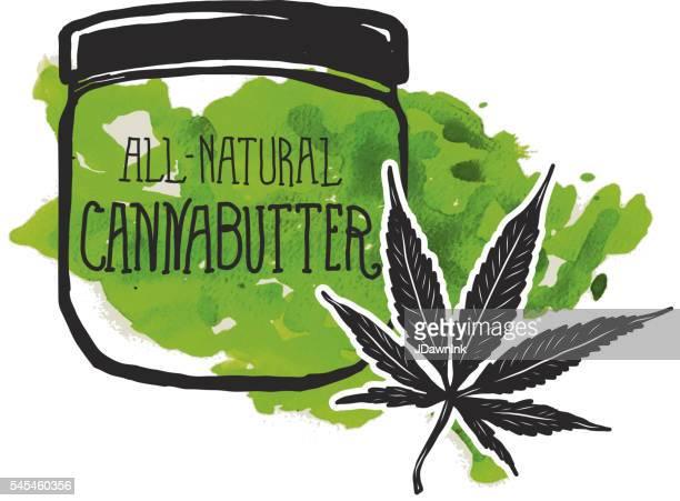 cannabutter label and jar with marijuana leaf - marijuana leaf stock illustrations