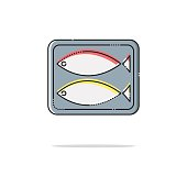 Canned fish color thin doted line icon. Mbe minimalism style