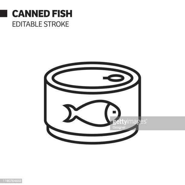 canned fish line icon, outline vector symbol illustration. pixel perfect, editable stroke. - can stock illustrations