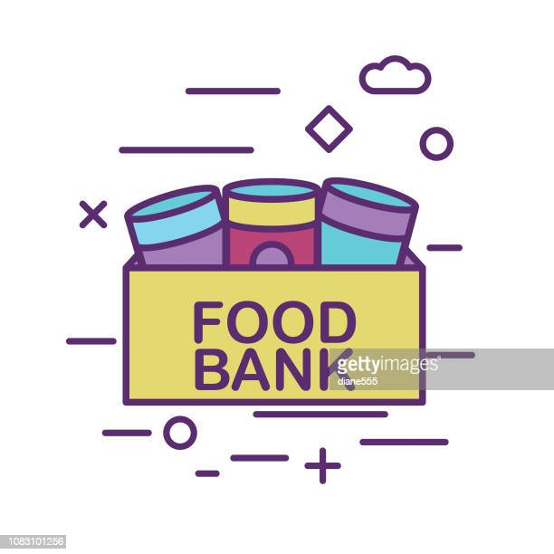 canned food donation box charity and donation thin line icon set - can stock illustrations