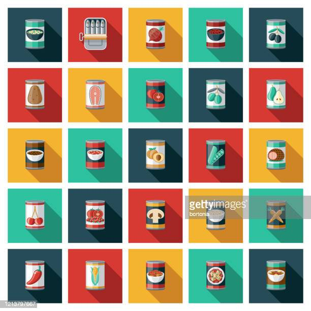 canned food icon set - bean stock illustrations