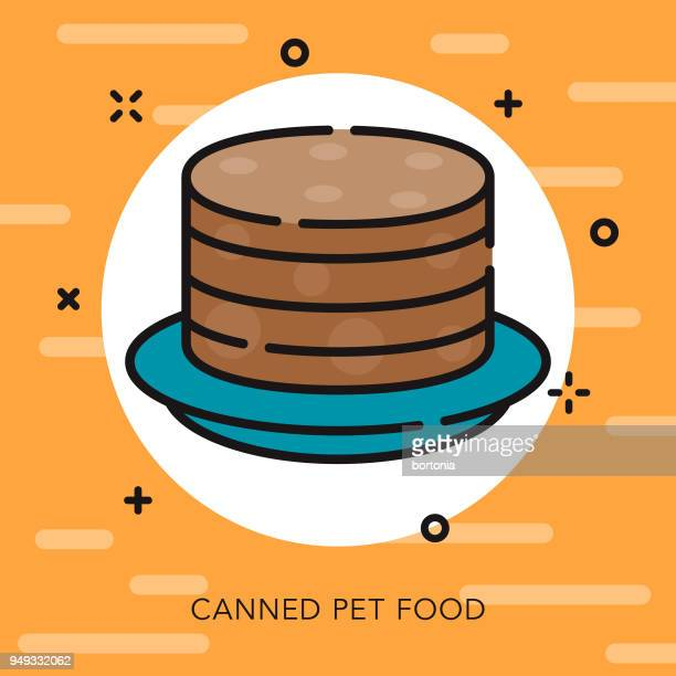 canned food open outline pet supples icon - cat food stock illustrations