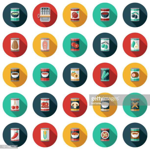 canned foods icon set - bean stock illustrations