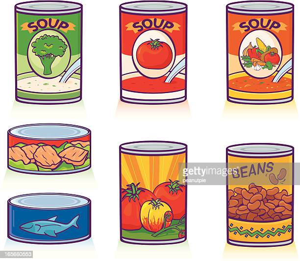 canned goods - bean stock illustrations