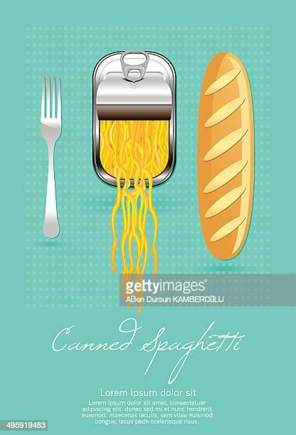 canned spaghetti - macaroni stock illustrations, clip art, cartoons, & icons